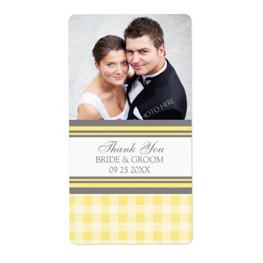 黄色い灰色のギンガムの写真の結婚式のラベル 発送ラベル