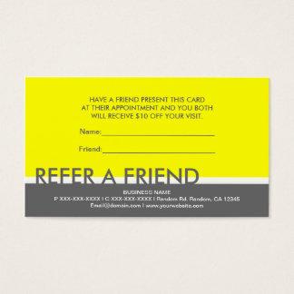 黄色い灰色のシンプルは友人のカスタム・カードを参照します 名刺