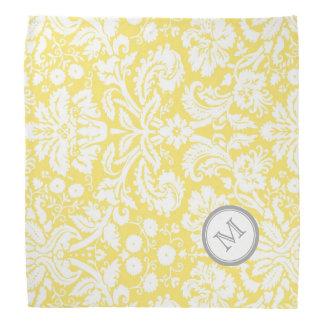 黄色い灰色のダマスク織パターンモノグラムのバンダナ バンダナ