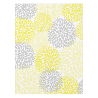 黄色い灰色のダリアの花のテーブルクロス、花 テーブルクロス