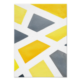 黄色い灰色の幾何学的 プリント