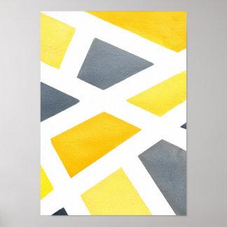 黄色い灰色の幾何学的 ポスター