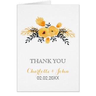 黄色い灰色の水彩画の花の結婚式は感謝していしています グリーティングカード