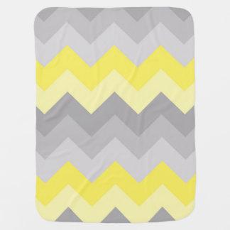 黄色い灰色の灰色のグラデーションなシェブロン ベビー ブランケット