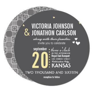 黄色い灰色の粋で幾何学的なタイポグラフィの結婚 カード