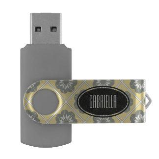 黄色い灰色の花のモチーフ名前入りなFlashdrive USBフラッシュドライブ