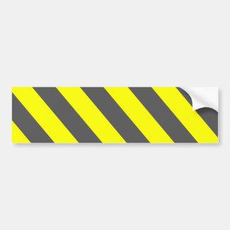 黄色い灰色の警告は縞で飾ります バンパーステッカー