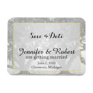 黄色い灰色の銀製カシのコケむした結婚式の保存日付 マグネット
