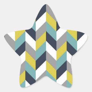 黄色い灰色の青緑海軍ヘリンボンシェブロン 星シール