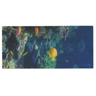 黄色い熱帯魚 ウッドUSBフラッシュドライブ