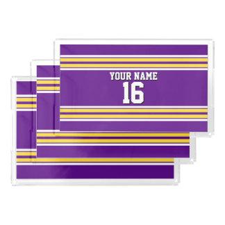 黄色い白のストライプのチームジャージーとの紫色 アクリルトレー
