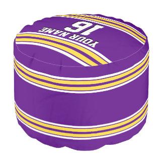 黄色い白のストライプのチームジャージーとの紫色 プーフ
