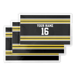 黄色い白のストライプのチームジャージーとの黒 アクリルトレー