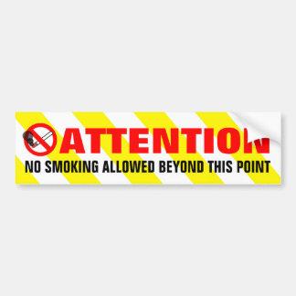 黄色い白のストライプの注意の禁煙の警告 バンパーステッカー