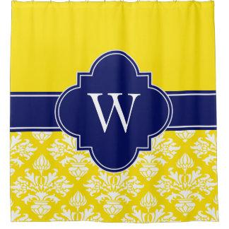 黄色い白LGのダマスク織#3 1ICBR海軍モノグラム シャワーカーテン