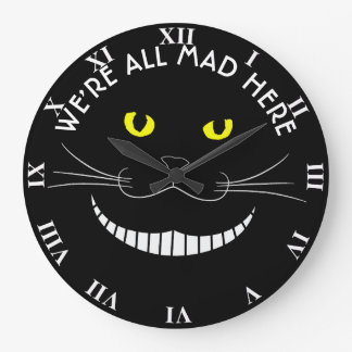 黄色い目を持つチェシャー微笑の透明な猫 ラージ壁時計
