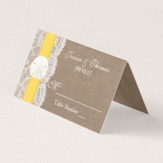黄色い砂ドルのビーチ結婚式のコレクション プレイスカード