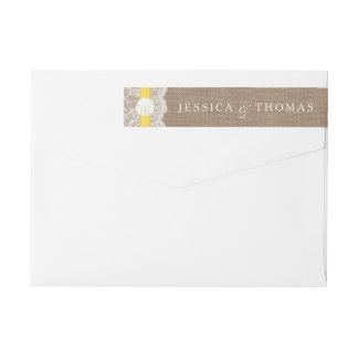黄色い砂ドルのビーチ結婚式のコレクション ラップアラウンド返信用宛名ラベル