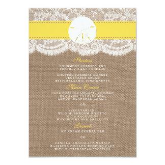 黄色い砂ドルの結婚式のコレクションメニュー 11.4 X 15.9 インビテーションカード