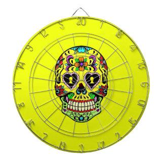 黄色い砂糖のスカル(死者の日)のダート盤 ダーツボード