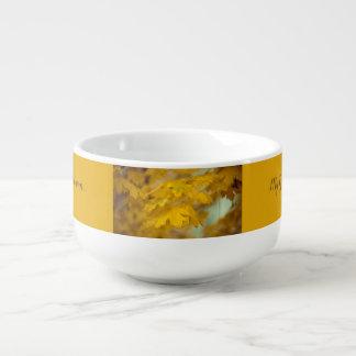 黄色い秋のかえでの葉。 テキスト加えて下さい スープマグ