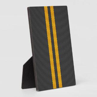 黄色い競争のストライプなカーボン繊維のスタイル フォトプラーク