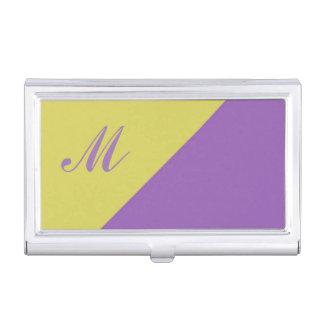 黄色い紫色色のブロックのモノグラムのイニシャル 名刺入れ