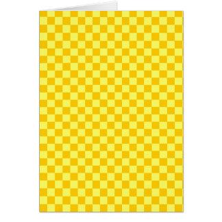 黄色い組合せのクラシックのチェッカーボード カード