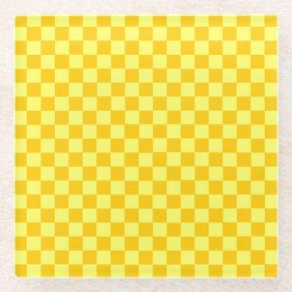 黄色い組合せのクラシックのチェッカーボード ガラスコースター