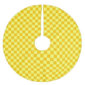 黄色い組合せのクラシックのチェッカーボード ブラッシュドポリエステルツリースカート