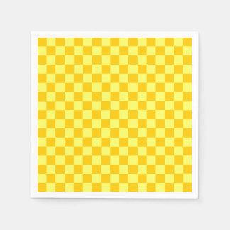 黄色い組合せの古典のチェッカーボード スタンダードカクテルナプキン