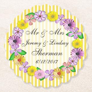 黄色い結婚式の名前入りなカスタムの紙のコースター ペーパーコースター