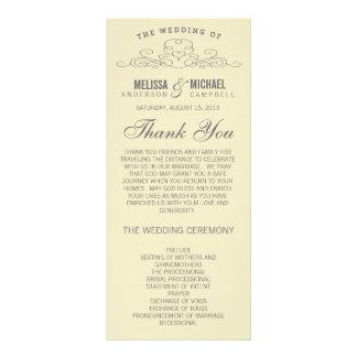 黄色い結婚式プログラム%PIPE%のヴィンテージの優雅 ラックカード