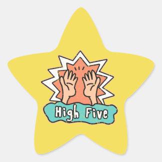 黄色い背景が付いている高い5つの星のステッカー 星シール