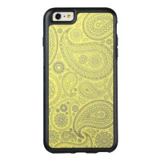 黄色い背景のヴィンテージの灰によって着色されるペイズリー オッターボックスiPhone 6/6S PLUSケース