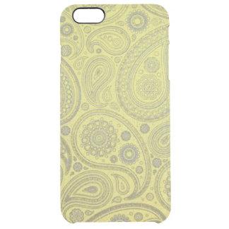 黄色い背景のヴィンテージの灰の白いペイズリー クリア iPhone 6 PLUSケース