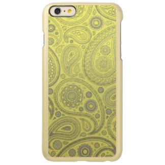 黄色い背景のヴィンテージの灰の白いペイズリー INCIPIO FEATHER SHINE iPhone 6 PLUSケース