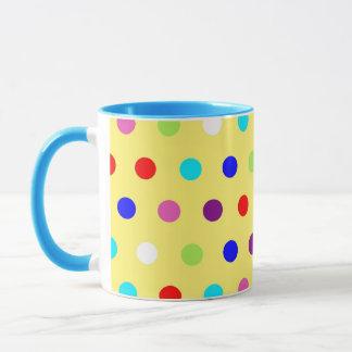 黄色い背景の水玉模様 マグカップ
