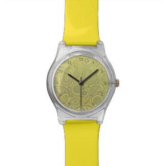 黄色い背景の灰の白いペイズリー 腕時計