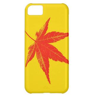 黄色い背景の赤い葉 iPhone5Cケース