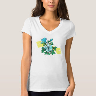 黄色い背景の青い花 Tシャツ