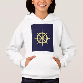 黄色い船の舵輪-濃紺