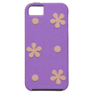 黄色い花および点のデザインの紫色 iPhone SE/5/5s ケース