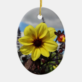 黄色い花のオーナメント セラミックオーナメント