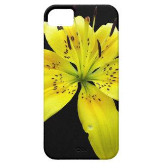 黄色い花のトラのLillyの黒い背景 iPhone SE/5/5s ケース