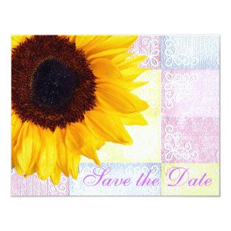 黄色い花のモダンな国のヒマワリの結婚式 カード