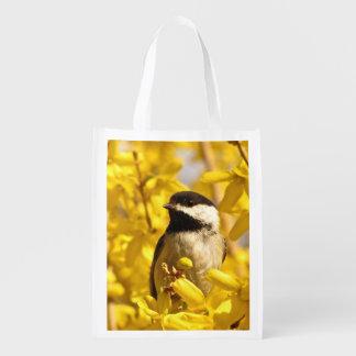 黄色い花の市場のトートの《鳥》アメリカゴガラの鳥 エコバッグ