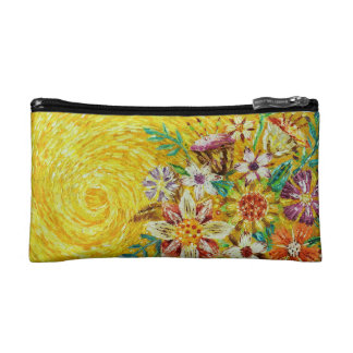 黄色い花の抽象美術の化粧品のバッグ コスメティックバッグ