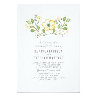 黄色い花の水彩画の婚約パーティ 12.7 X 17.8 インビテーションカード