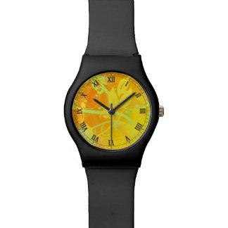 黄色い花の渦巻の線画 腕時計
